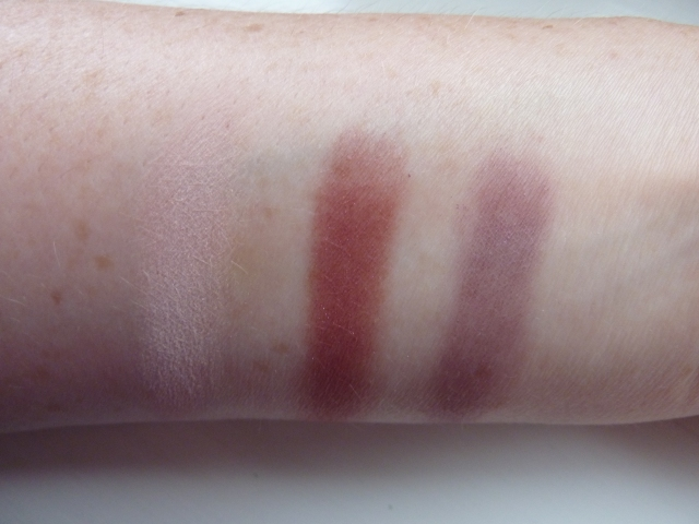Swatches on NW20 skin (L-R) MAC Yogurt, MAC Plum Dressing, MAC Nocturnelle